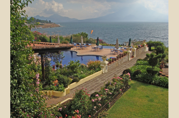 The expansive grounds of Hotel Atitlan meet the shore of the lake.