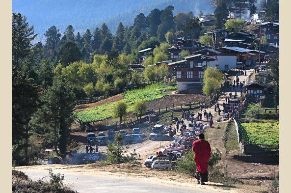 A small town near Gangtey