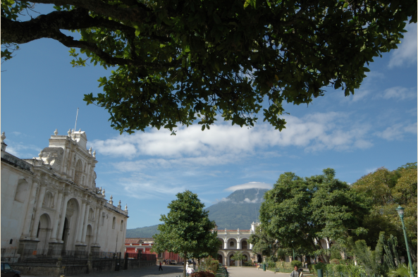 From the center of colonial Antigua, the vistas and the detail are equally impressive.
