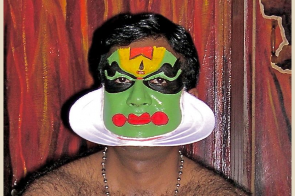 The make-up and costume of the Kathakali dancers is unique to this area