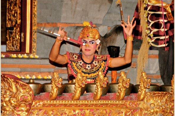 "Balinese musical ensembles, or ""gamelan,"" include a unique array of ornate percussion instruments including gongs and xylophones"