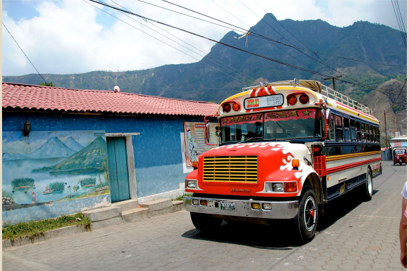 A typical local bus in San Juan village in the highlands by Lake Atitlan.