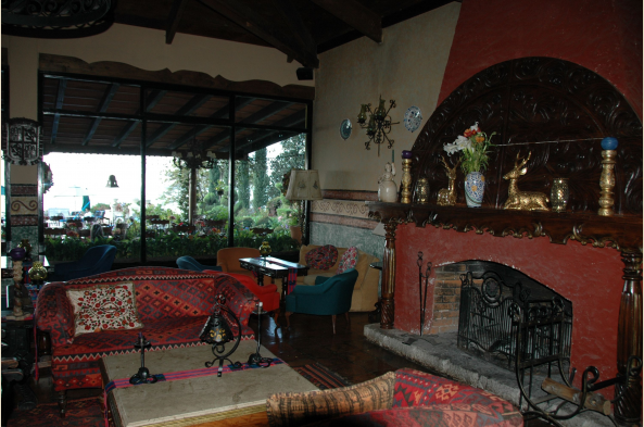 The interior and exterior ambiance of Hotel Atitlan exudes Guatemalan charm.