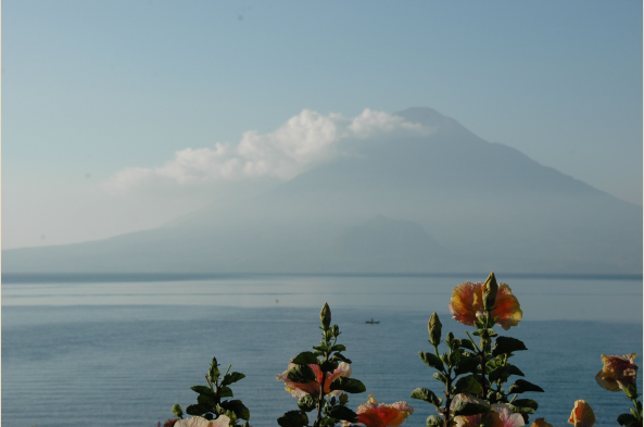 Lake Atitlan offers a stunning interplay of peaks, clouds, blue water, and blue sky.