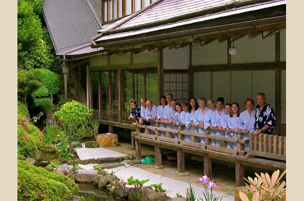 Gathered in temple garden, Koya-san