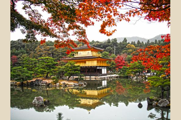 Kinkaku temple in the fall