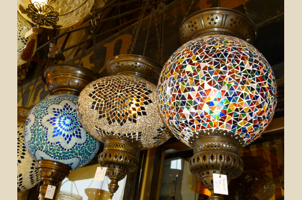 Colorful lamps in the bazaar