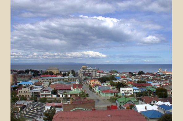 Punta Arenas with the Straits of Magellan beyond (used with permission, Wikimedia Commons)