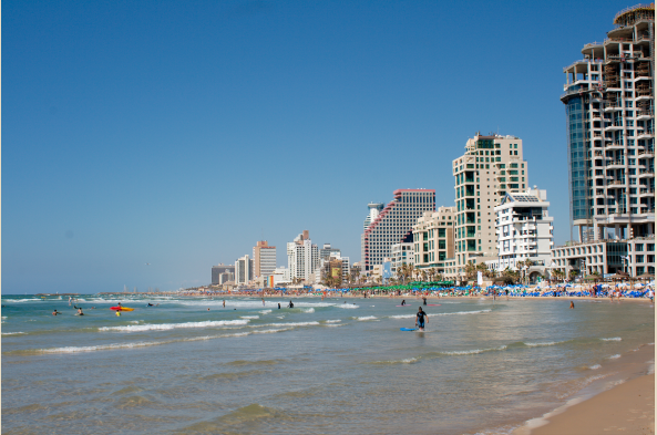 Tel Aviv is equally distinguished as a commercial center and beach destination. (Photo by Christian Haugen)
