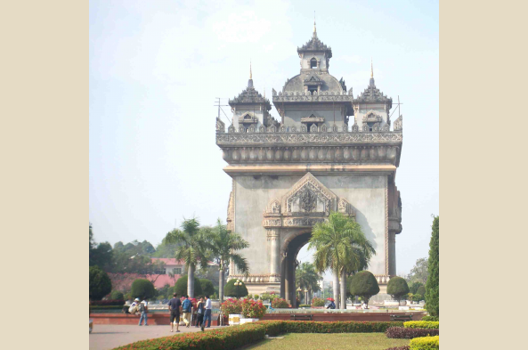 Patuxai monument, Vientiane's version of the Arc de Triomphe in Paris