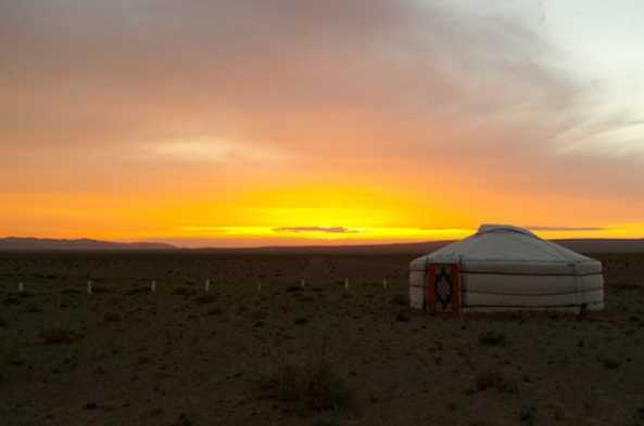 Enjoy the beautiful Gobi Desert sunset