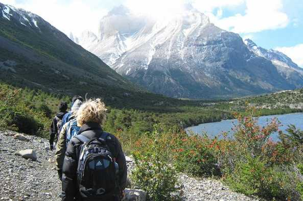 Hike along Lake Pehoe, then ascend through the French Valley