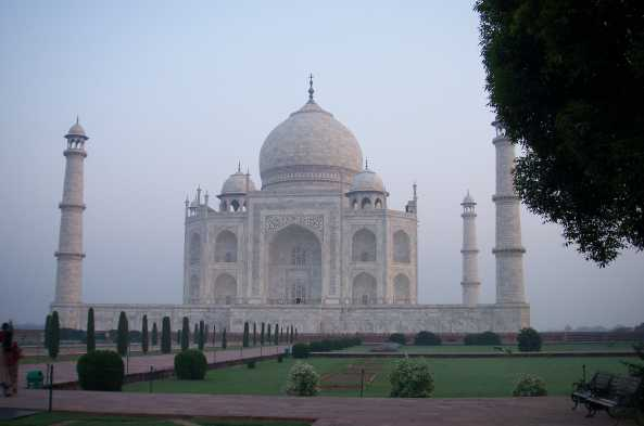 Admire the early-morning view of the Taj Mahal