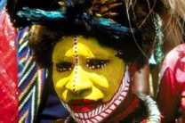 Woman of the Huli tribe.
